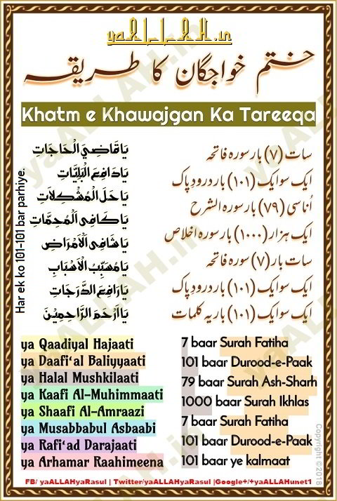 khatm e khawajgan wazifa padhne ka tarika in urdu english