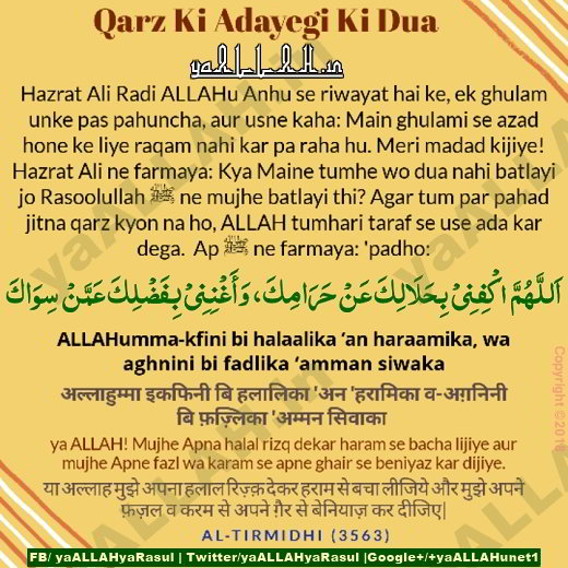 Islamic Authentic Dua for Debt Removal and Settling in english Urdu Hindi